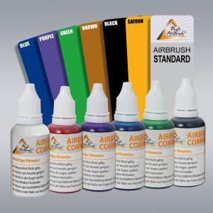 Airbrush Farben 6er Set, universal, auch für Tattoo geeignet
