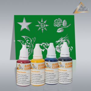Fancy Tattoo Airbrush Set, Schablonen mit Farben