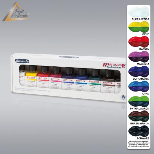Airbrush-Farbe Aero Color Kartonset Grundfarben, Schmincke 81 108