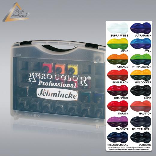 Airbrush-Farbe Aero Color Kunststoff-Koffer 16, Schmincke 81 124