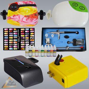 Profi-AirBrush Kompressoren mit NAIL Farben Set - Zubehörauswahl