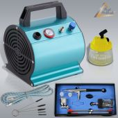 Profi-AirBrush Set Beauty Maxx II - Airbrushkompressor, Universal-Airbrushpistole, Reinigungsbürsten, Cleaning-Pot 3-in-1, Druckluftschlauch