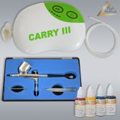 Profi-AirBrush Carry III Color II mit 4 Farben Set