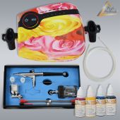Profi-AirBrush Carry II ROSE Color II mit 4 Farben Set