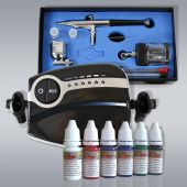 Profi-AirBrush Carry II Color mit 6 Farben Set