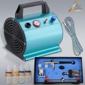 Set Profi-AirBrush Beauty MAXX: Airbrushkompressor, Airbrushpistole, Zubehör und 4er-Farben-Set