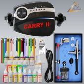 Profi-AirBrush Carry II BLACK - Color IV mit Airbrush Farben 19-er Wasserbasis Set