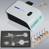 Profi-AirBrush Carry IV-TC weiß Color mit 6 Farben Set