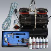 Profi-AirBrush Duo-Power Set I Color mit 6 Farben Set
