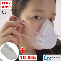 Mehrfach-Maske - FFP2/KN 95 klein aus Silikon mit austauschbarem 5-fach Filter, Ventil und 10 Stck Ersatzfilter